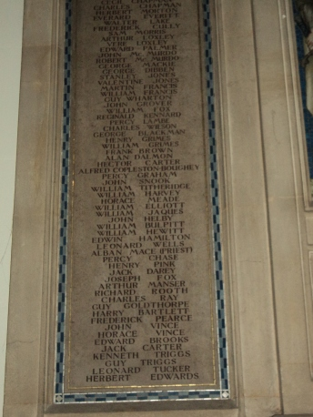 War Memorial inside Alverstoke Parish Churchin memory of William Titheridge