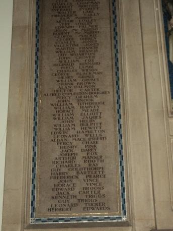 War Memorial inside Alverstoke Parish Churchin memory of William Titheridge