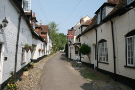 Old houses and pub at Bishops Waltham