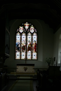 Stained Glass inside Cheriton Parish Church of St Michael's and All Angels