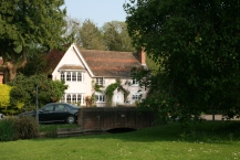 Old house and village green at Cheriton