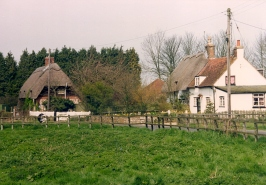 Old houses at Cheriotn, to the north end of the village, in 1992