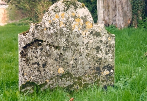 Cheriton parish churchyard - gravestone in 1992-001