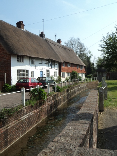 River and old houses at East Meon