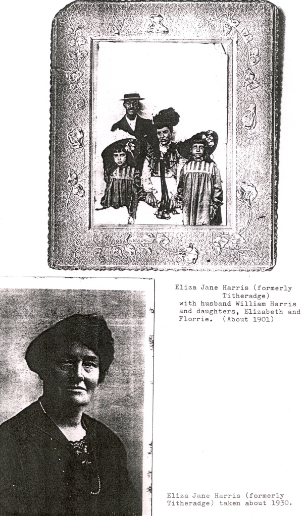 Photocopy of pictures of Eliza Jane Harris (nee Titheradge) in 1901 and 1930