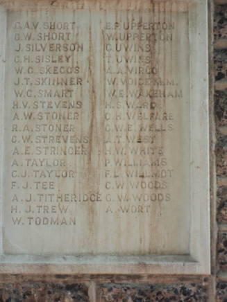 Southwick War MemorialLance Corporal Alfred James Titheridge Royal Sussex Regiment died 25/9/1915 aged 22. Son of Albert James and Catherine Titheridge, of 3, Cyprus Cottages, Southwick, Brighton.