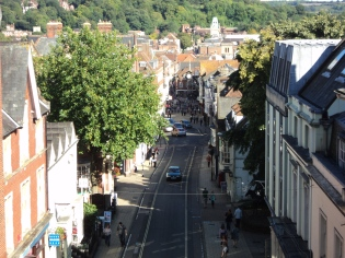 View down the High Street from Westgate Tower Winchester