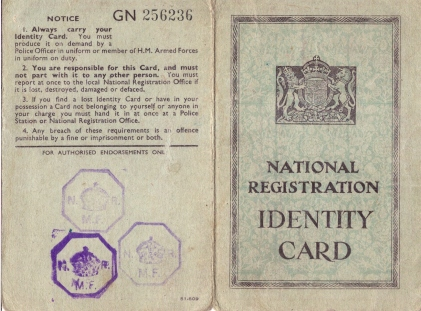 Identity card for Eric Norman Titheradge 1946 - 1951 (front)